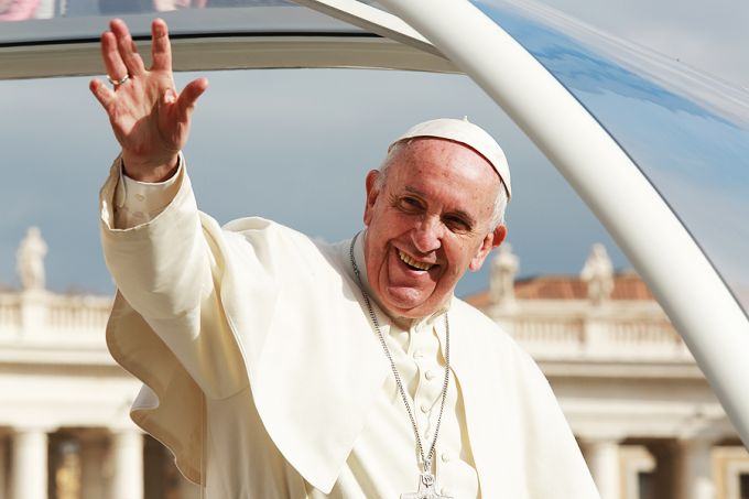 The Pope says his smile is from prayer, not pills or booze.